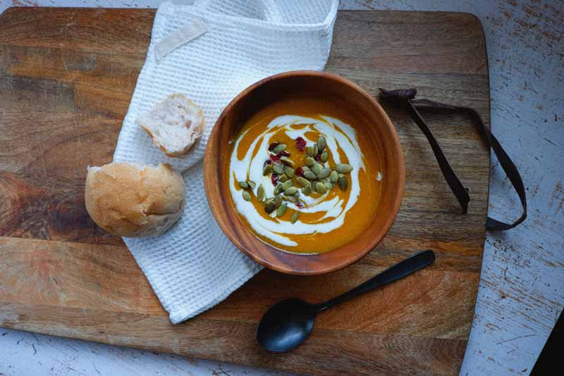 vegan pumpkin and sweet potato soup