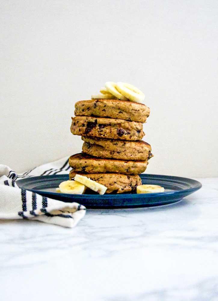 vegan chocolate chip banana bread pancakes